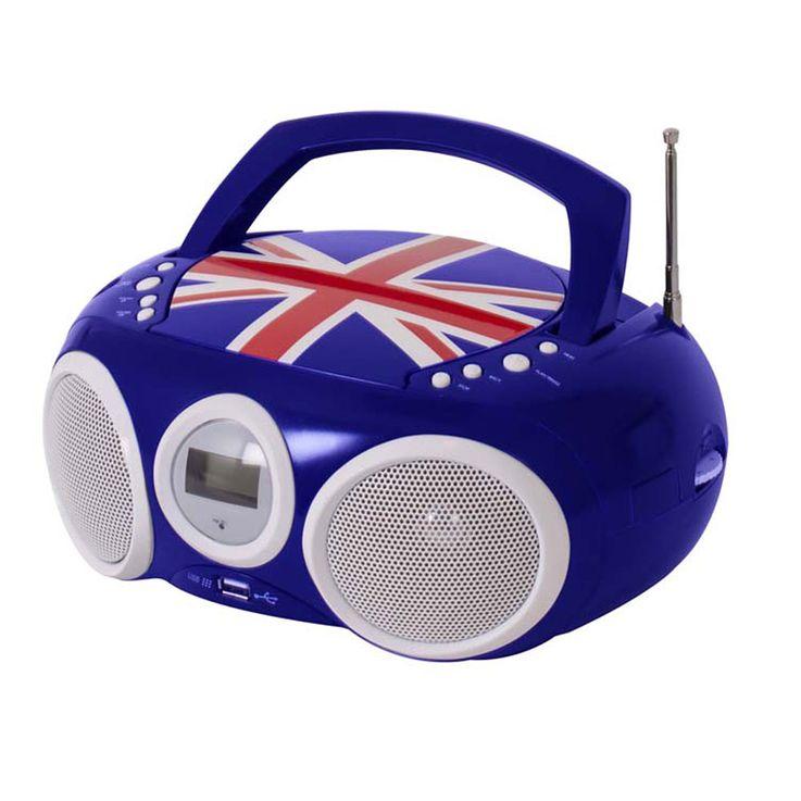Design CD Spieler Stereo Radio USB Anlage Jungen Kinder Zimmer Musik im Set inklusive Smiley Sticker – Bild 4