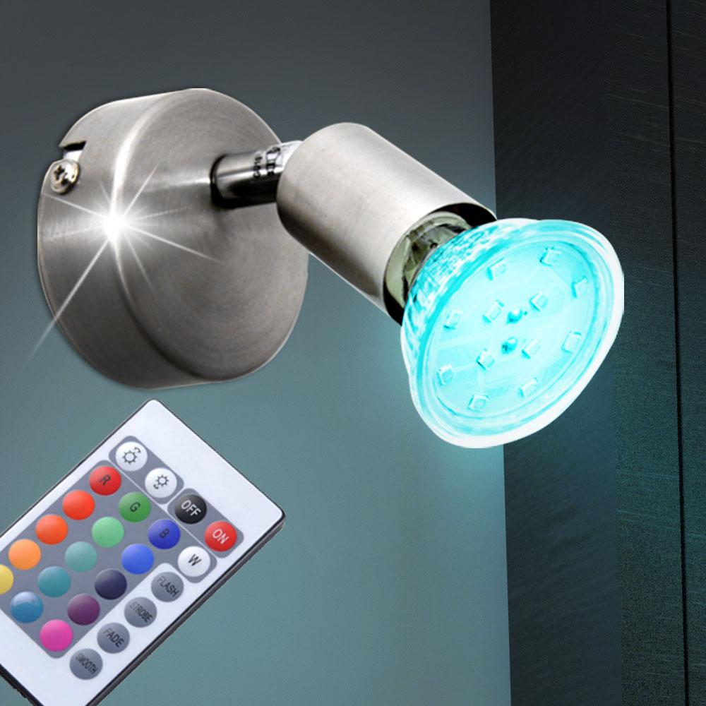 rgb led deckenlampen fernbedienung wand tischleuchten farbwechsel spots drehbar ebay. Black Bedroom Furniture Sets. Home Design Ideas