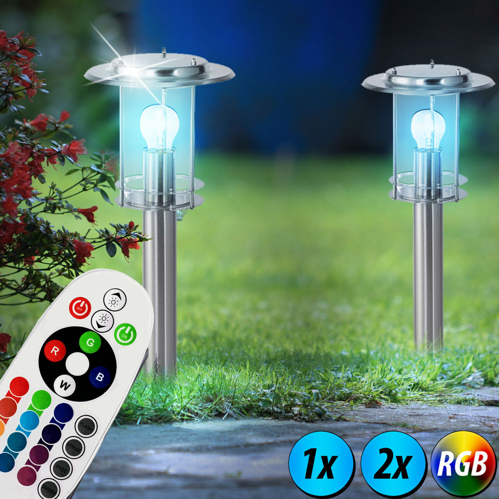 1 2x rgb led steh leuchten garten lampen fernbedienung. Black Bedroom Furniture Sets. Home Design Ideas