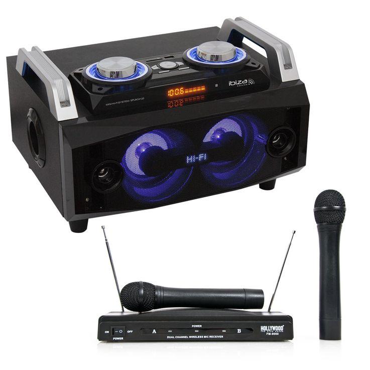 Mobile Lautsprecherbox Karaoke Anlage Bluetooth USB MP3 inklusive Funkmikrofonsystem – Bild 1