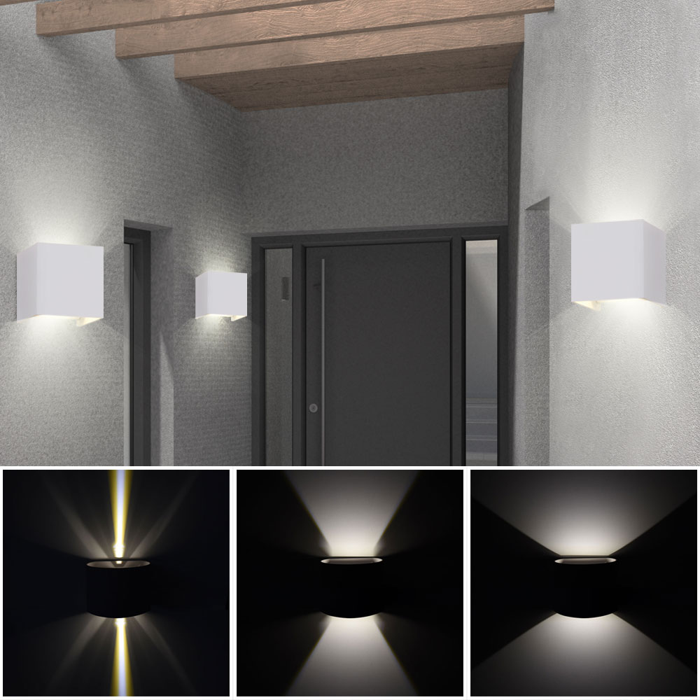 5x led au en bereich wand leuchten park lampen effekt licht schein verstellbar ebay. Black Bedroom Furniture Sets. Home Design Ideas