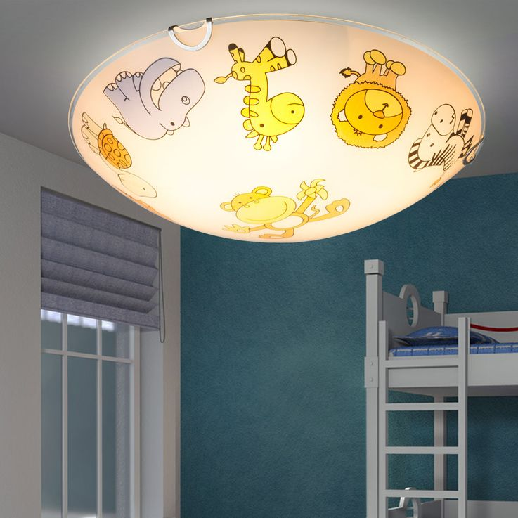 Design Kids Ceiling Lamp Zoo Animal Motive Game Room Lighting Glass Lamp Colorful  Globo 40607 – Bild 5
