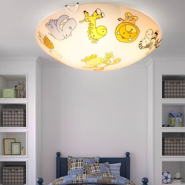 Design Kids Ceiling Lamp Zoo Animal Motive Game Room Lighting Glass Lamp Colorful  Globo 40607 – Bild 2