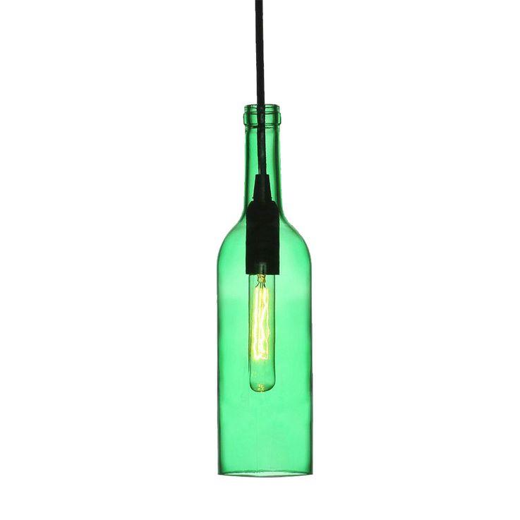 Glas Hänge Lampe Ess Zimmer Decken Pendel Beleuchtung Flaschen Leuchte grün V-Tac3767 – Bild 1