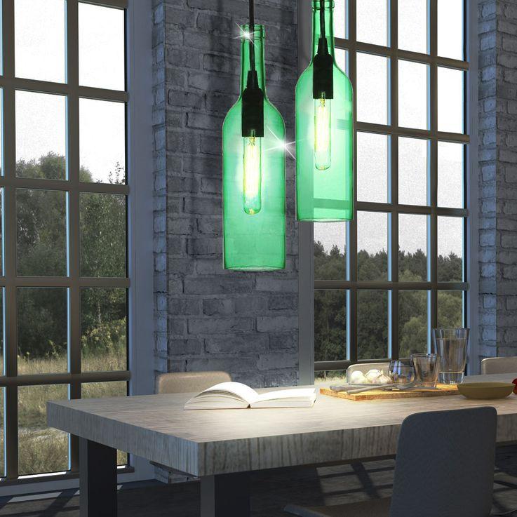 Glas Hänge Lampe Ess Zimmer Decken Pendel Beleuchtung Flaschen Leuchte grün V-Tac3767 – Bild 5
