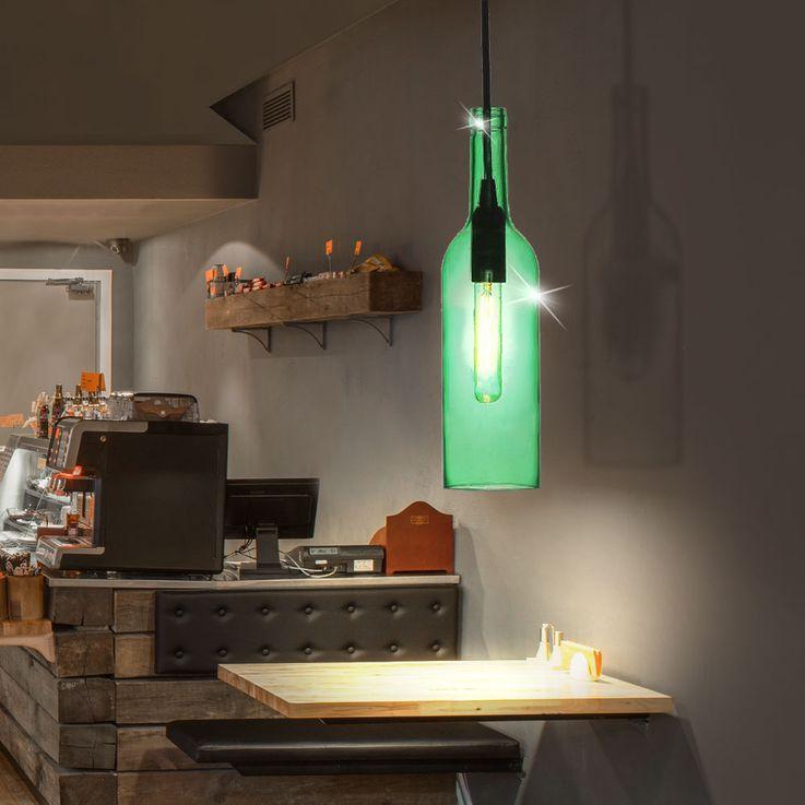 Glas Hänge Lampe Ess Zimmer Decken Pendel Beleuchtung Flaschen Leuchte grün V-Tac3767 – Bild 4