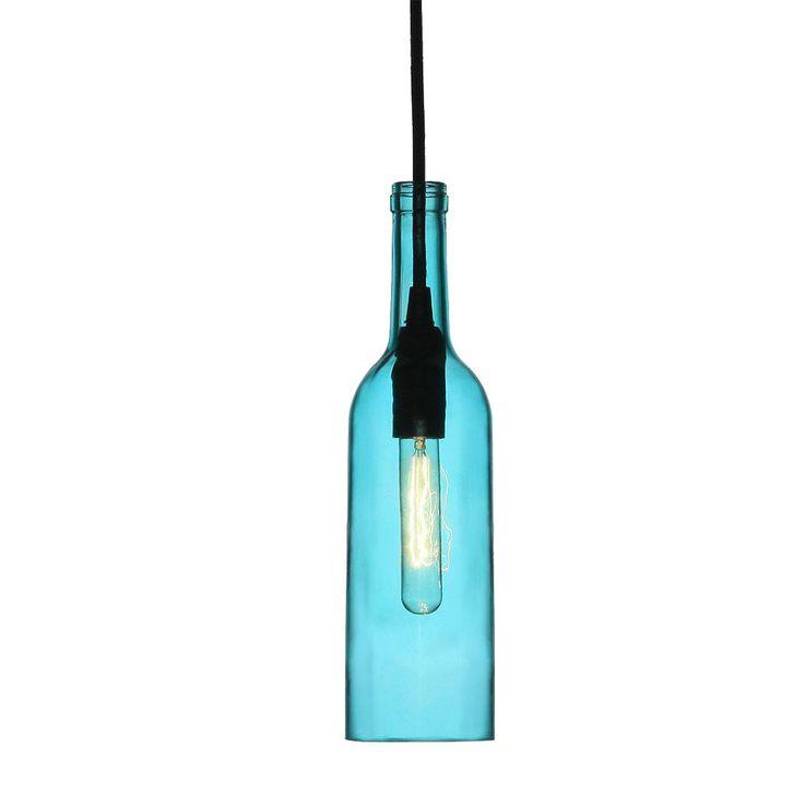 Design Flaschen Pendel Leuchte Wohn Zimmer Beleuchtung  Flur Glas Decken Hänge Lampe blau V-Tac3768 – Bild 1