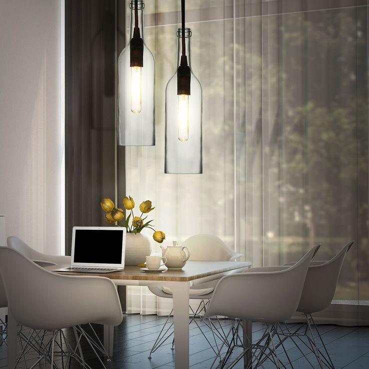 Lampe suspension en plafond Salle de séjour lampe bouteille lampe suspension claire en verre V-Tac 3771 – Bild 4