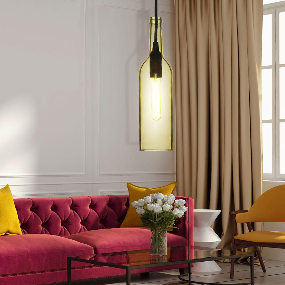 h ngelampe im glasflaschen design in gelb vt 7558 lampen m bel r ume wohnzimmer. Black Bedroom Furniture Sets. Home Design Ideas