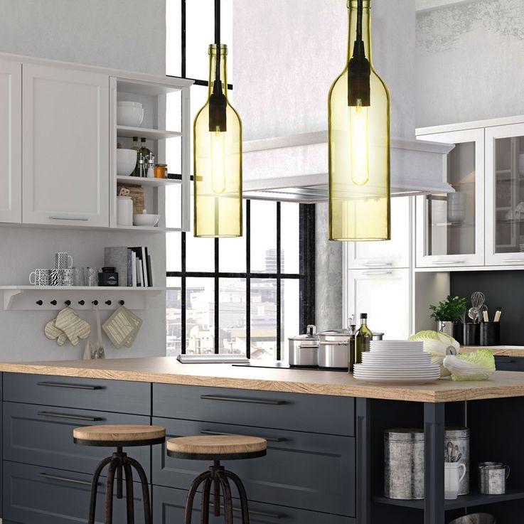Verre bouteille en lampe suspension design design plafonnier pendentif jaune clair V-Tac3773 – Bild 5