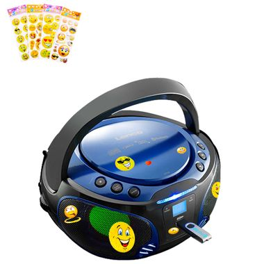 Kids Stereo Music System Bluetooth USB CD Player Color changer in set including smiley sticker – Bild 1