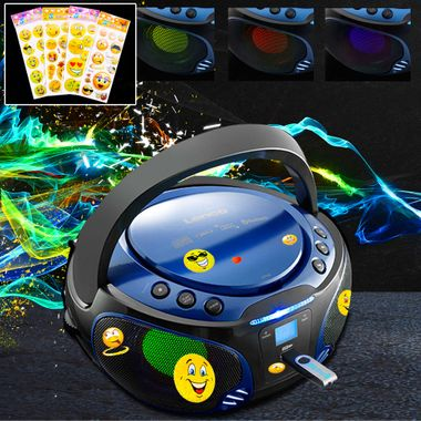 Kids Stereo Music System Bluetooth USB CD Player Color changer in set including smiley sticker – Bild 2