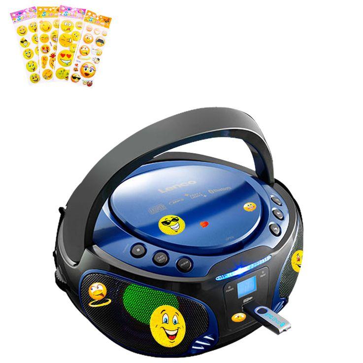 Kinder Stereo Musik Anlage Bluetooth USB CD Player Farbwechsler im Set inklusive Smiley Aufkleber – Bild 1
