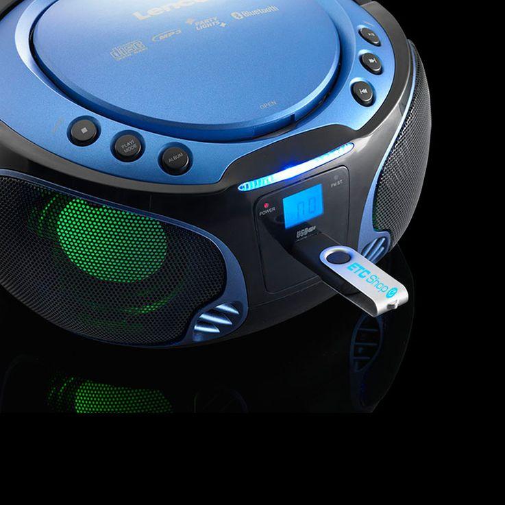 Kinder Stereo Musik Anlage Bluetooth USB CD Player Farbwechsler im Set inklusive Smiley Aufkleber – Bild 4