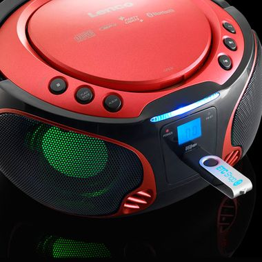 Music Party Audio System USB Bluetooth Boombox CD Player MP3 color changer in set including headphones – Bild 6
