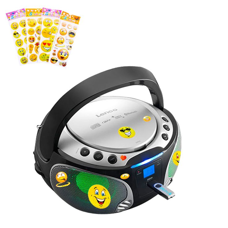 Stereo system audio radio CD player USB Bluetooth light effect in set including smiley stickers – Bild 1