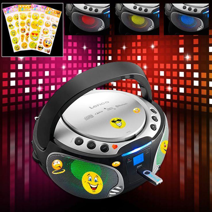 Stereoanlage mit CD-Player und Lichteffekt inkl. Sticker – Bild 2