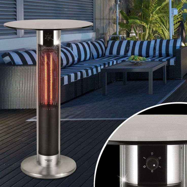 Bistro garden glass table infrared switch 2 steps heating spotlight outdoor furniture terrace BHP B991572 – Bild 2