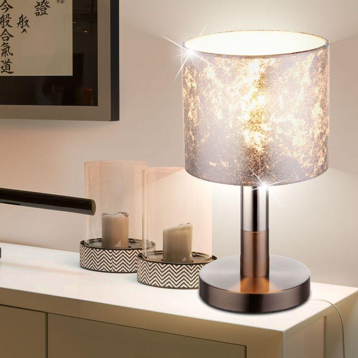 Design LED Tischleuchte mit Textil Lampenschirm AMY – Bild 2
