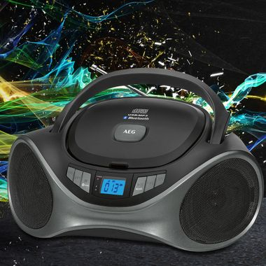 Bluetooth CD Radio USB MP3 Boombox AUX IN LCD display Stereo music system portable AEG sr4375bt – Bild 2