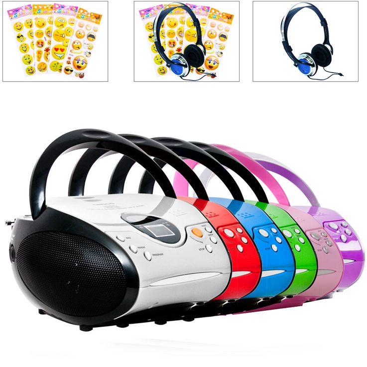 CD Player Smiley Aufkleber Boom Box tragbar Stereo Kopfhörer LCD Display FM Radio Musik Anlage  – Bild 1