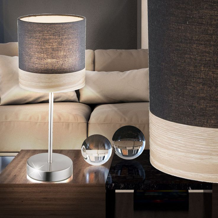 Design LED table lamp in textile and wood CHIPSY – Bild 3