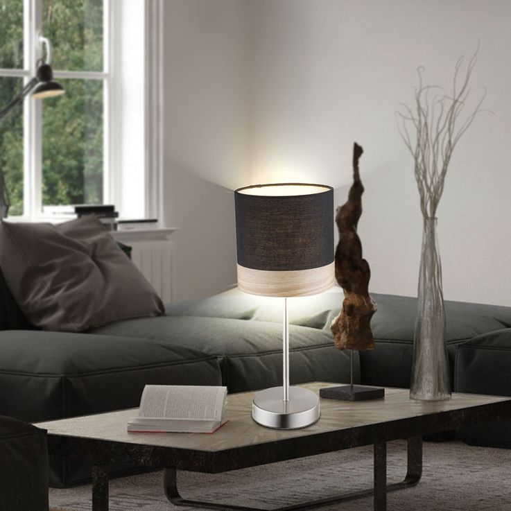 Lampe de table à LED design en textile et bois CHIPSY – Bild 4