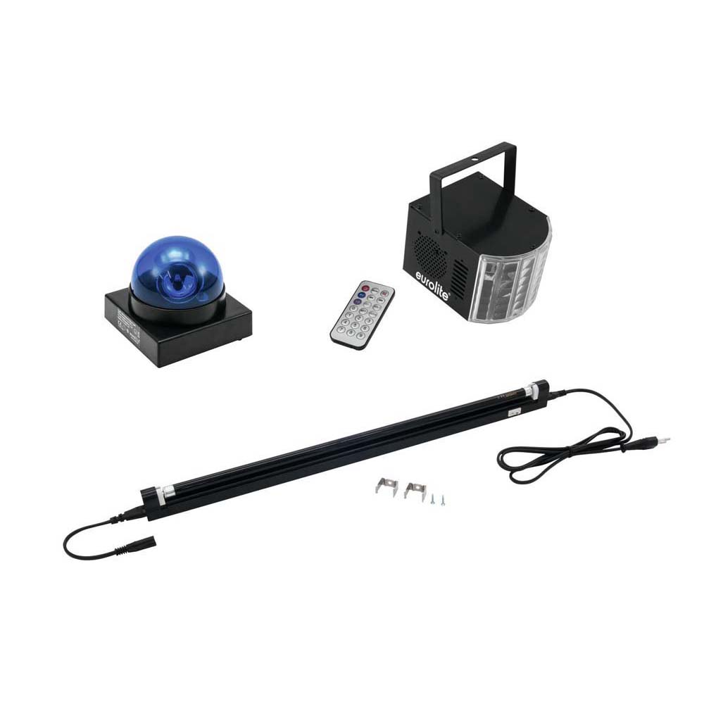 EUROLITE Set LED Buzzer-Polizeilicht blau + LED Mini D-4 + UV-Rö