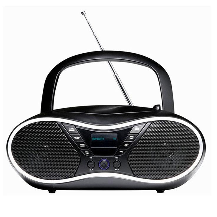 Tragbare FM Radio Anlage Lautsprecher MP3 USB CD AUX Kabel dot Display Alarm Kopfhörer Denver TDA-60 – Bild 1