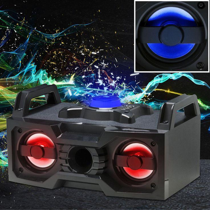 Stereo Anlage Lautsprecher Box USB AUX Kabel Bluetooth LED Beleuchtung Farbwechsler Denver BTB-60 – Bild 2