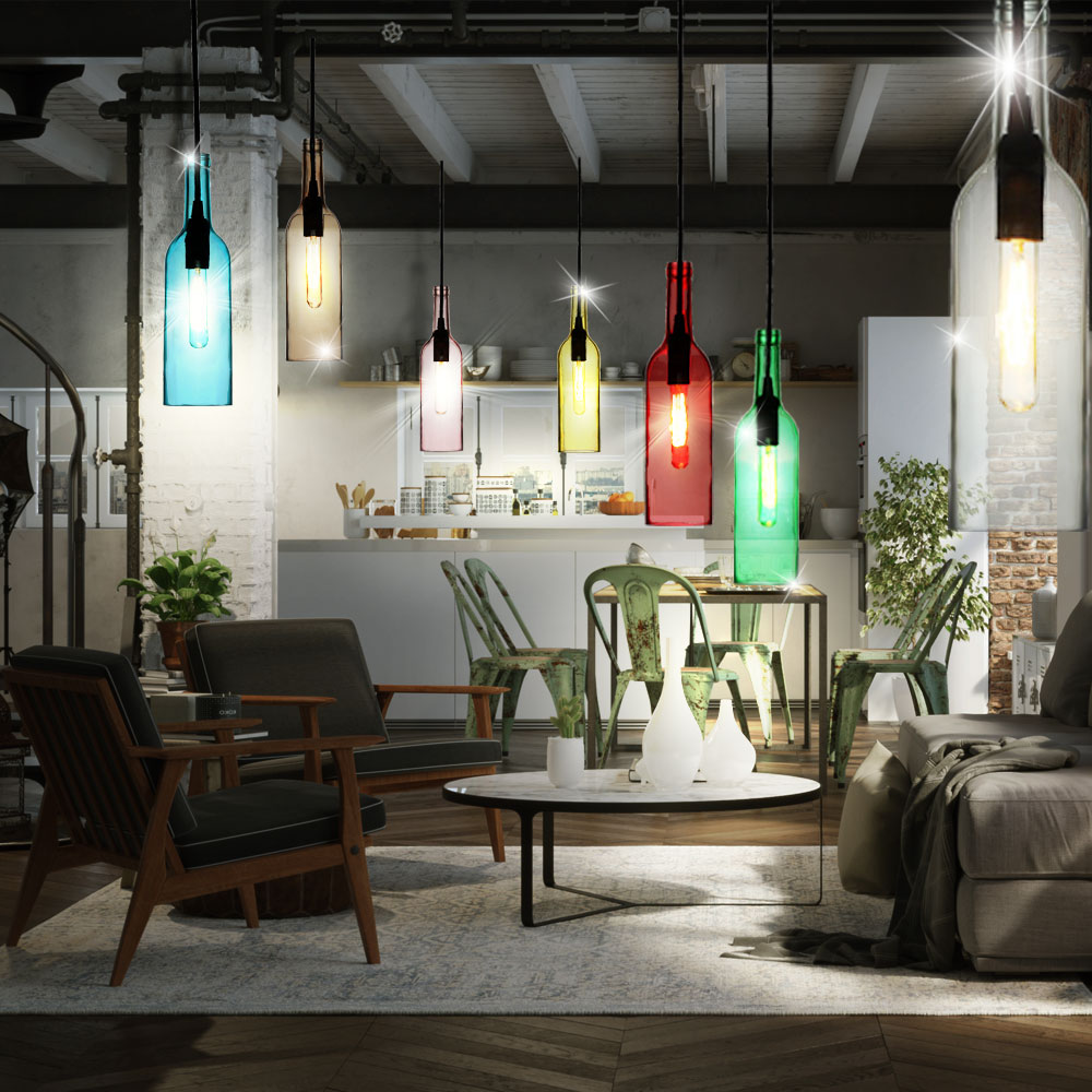 rgb led pendelleuchten esszimmer fernbedienung glasflaschen deckenlampen dimmbar ebay. Black Bedroom Furniture Sets. Home Design Ideas
