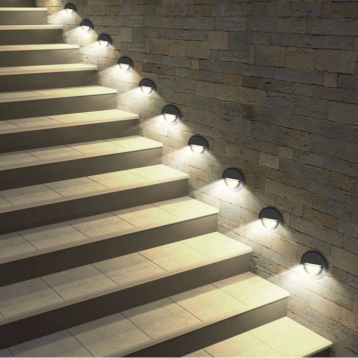 LED wall-mounted façade lamp steps lighting terrace balcony light round black EEK A V-TAC 1316 – Bild 5
