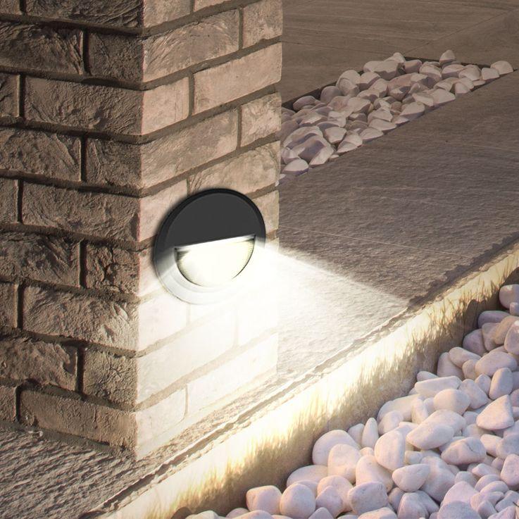 LED Wand Fassaden Lampe Stufen Beleuchtung Terrasse Balkon Leuchte rund schwarz EEK A V-TAC 1316 – Bild 2
