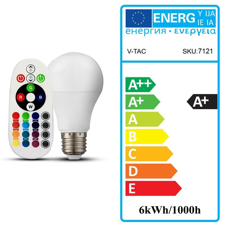 RGB LED 6 Watt Illuminant E27 Color Changing Lamp 470 Lumen 3000 K Remote Control V-Tac 7121 – Bild 3