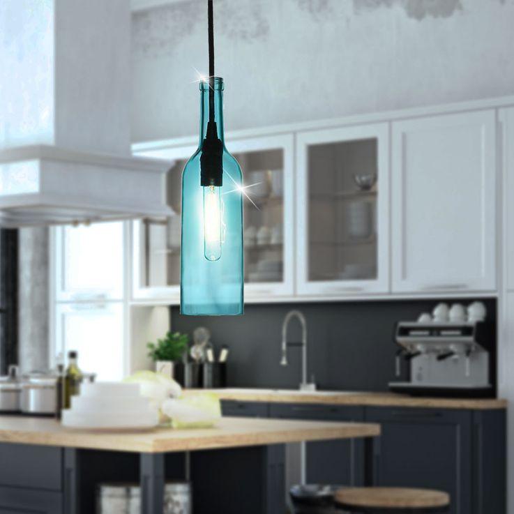 Ensemble de 2 pendules en bouteille de verre en bleu VT-7558 – Bild 3