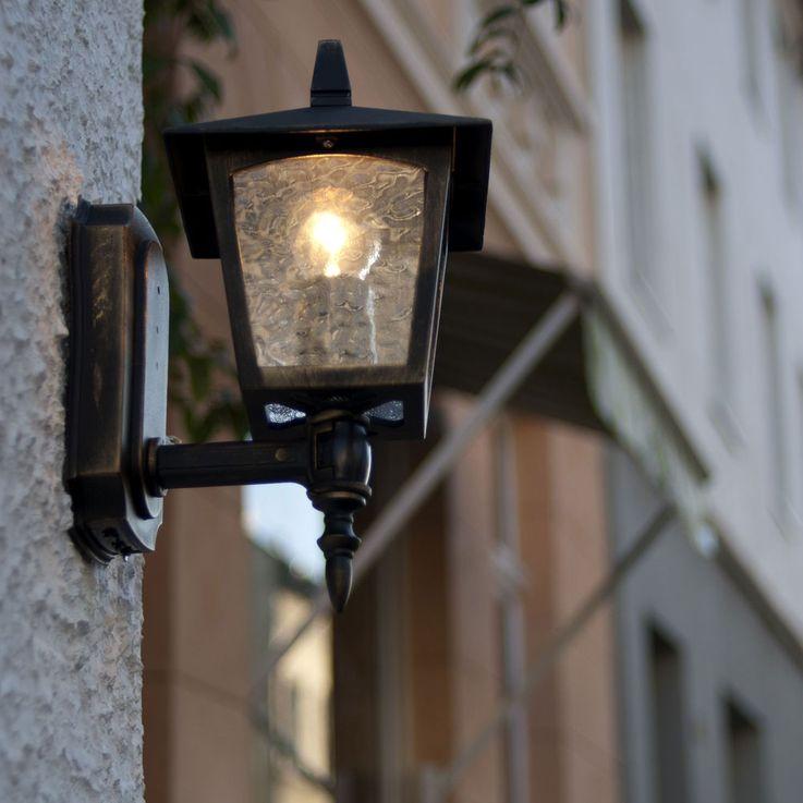 Applique de façade en façade en plein air Lanterne en verre de jardin Luminaire de cour intérieure ALU or marron ÜME1581BG – Bild 3