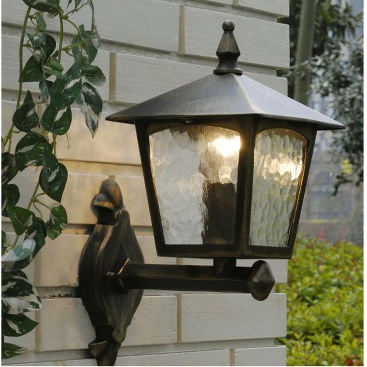 Applique de façade en façade en plein air Lanterne en verre de jardin Luminaire de cour intérieure ALU or marron ÜME1581BG – Bild 4