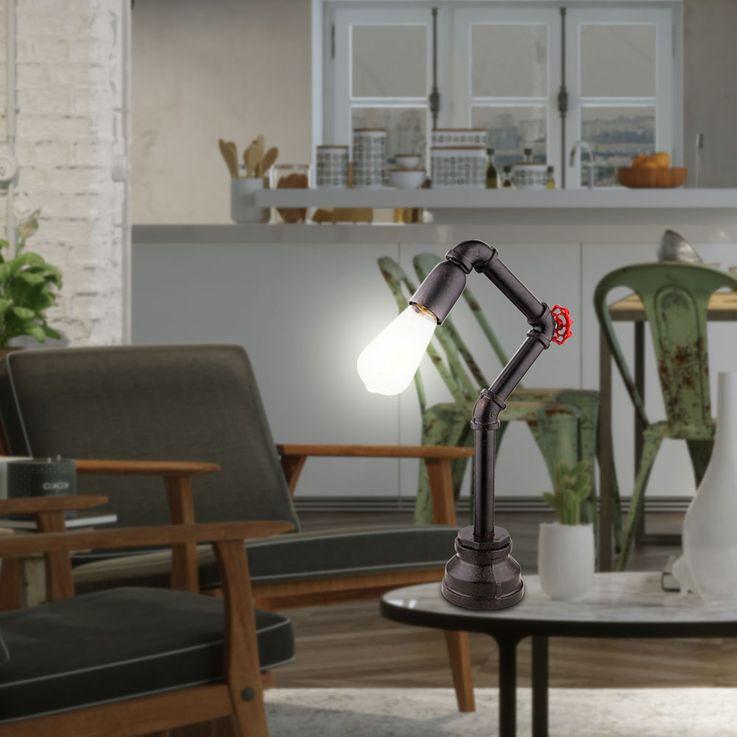 Tisch Leuchte Wohn Arbeits Zimmer Beleuchtung Wasser Rohr Design Lampe schwarz gold Globo 43000T – Bild 5