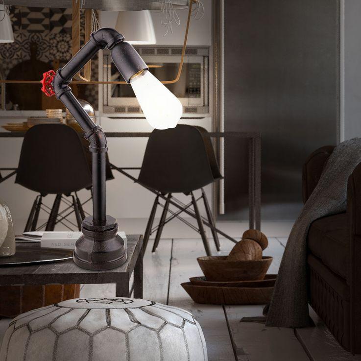 Tisch Leuchte Wohn Arbeits Zimmer Beleuchtung Wasser Rohr Design Lampe schwarz gold Globo 43000T – Bild 4