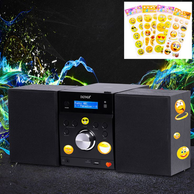CD Player Timer Stereo Music System Speakers Equalizer USB Remote Control including smiley Stickers – Bild 2