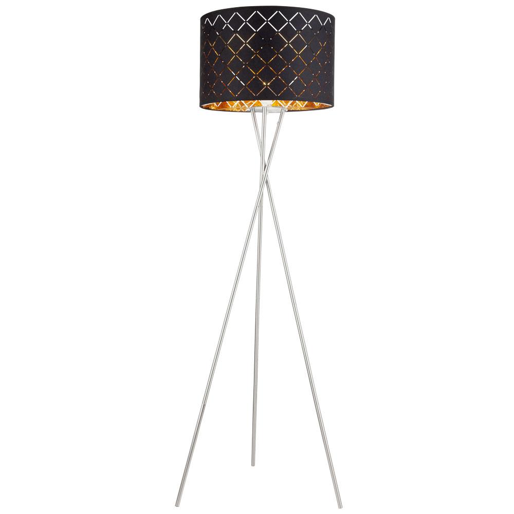 Design Stehleuchte aus Textil in schwarz und gold CLARKE