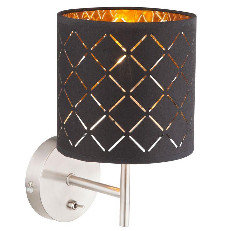 Wand Lampe Textil schwarz Arbeits Wohn Zimmer Beleuchtung Schalter Leuchte schwarz gold GLOBO 15229W – Bild 1