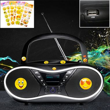 Portable FM Radio System Speaker MP3 USB CD AUX Cable dot Display Alarm with Sticker – Bild 2