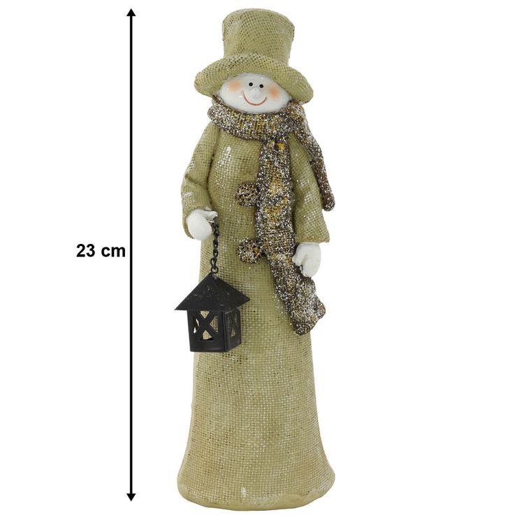 Schneemann mit schwarzer Laterne für Ihre Winterdekoration – Bild 1