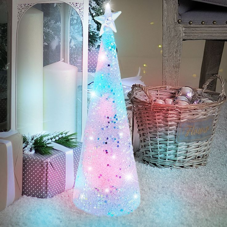 RGB Glass Christmas Tree X  -MAS Table Stand Color Changing Deco Glitter Star LED Lamp Eglo 75267 – Bild 2