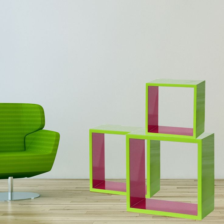 3-part shelf in the colors light green and pink – Bild 3