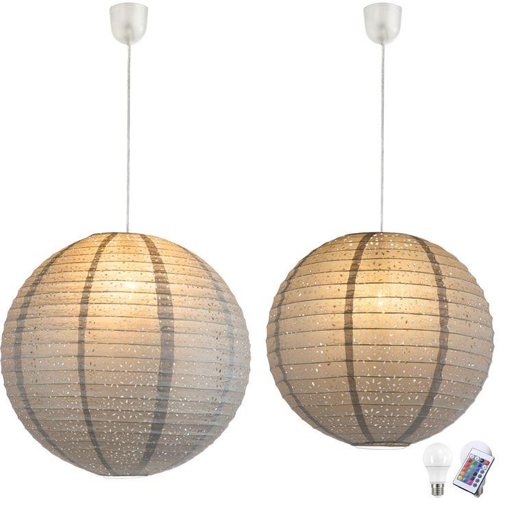 rgb led papierkugel h ngelampen in grau f r ihren wohnraum. Black Bedroom Furniture Sets. Home Design Ideas