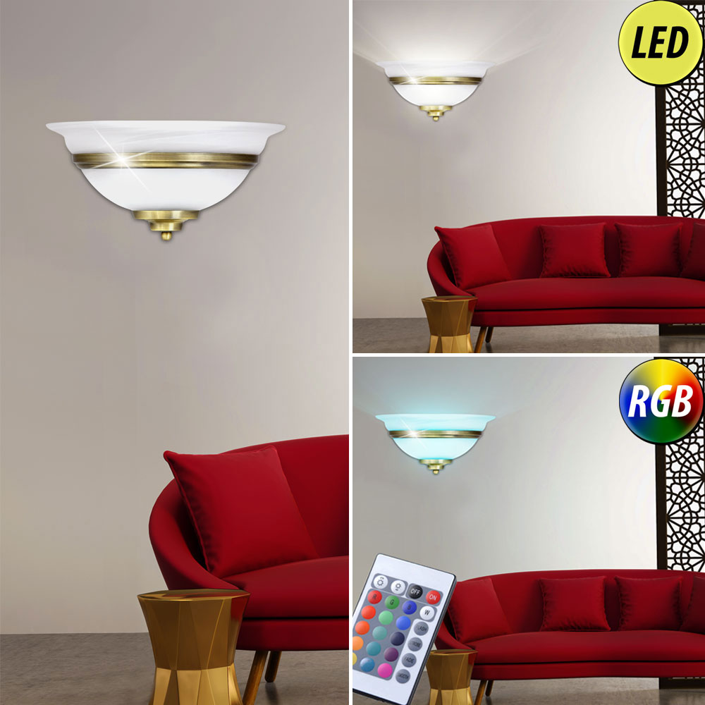 led wand lampe ess zimmer beleuchtung dimmbar rgb fernbedienung altmessing glas ebay. Black Bedroom Furniture Sets. Home Design Ideas
