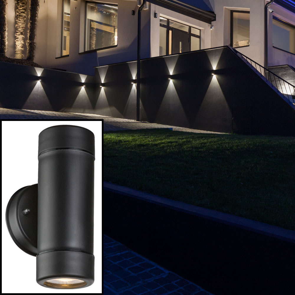 robuste led wandleuchte in schwarz f r den garten cotopa unsichtbar lampen m bel au enleuchten. Black Bedroom Furniture Sets. Home Design Ideas