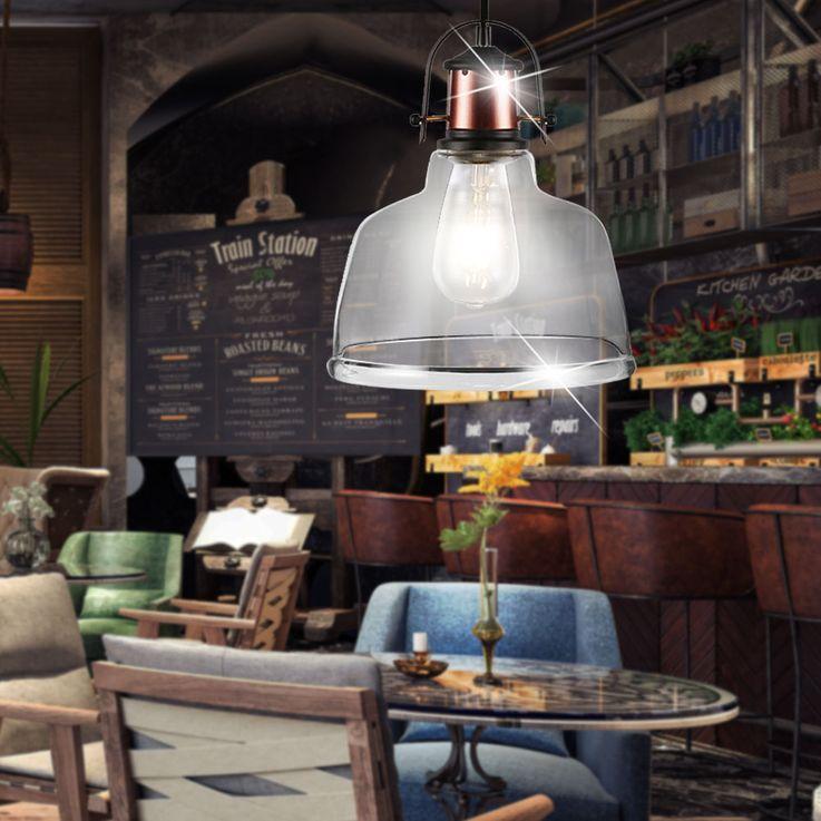 Retro pendant lamp living room industry country house style ceiling lamp glass lamp Vtac 3727 – Bild 2